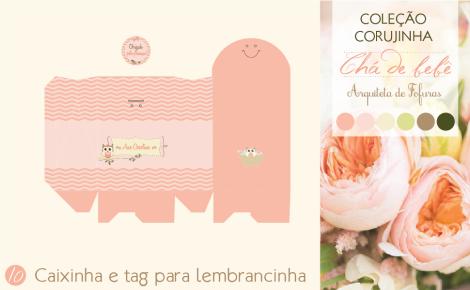 Tag e Caixinha de lembrancinha Chá de Bebê Corujinha | Arquiteta de Fofuras