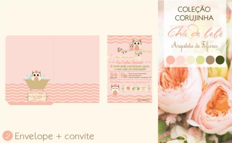 Envelope e Convite Chá de Bebê Corujinha | Arquiteta de Fofuras
