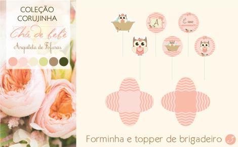 Forminha e topper brigadeiro gourmet Corujinha | Arquiteta de Fofuras