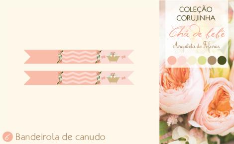 Bandeirola de Canudo Chá de Bebê Corujinha | Arquiteta de Fofuras