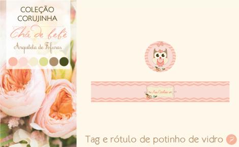 Tag e rótulo potinho de vidro Chá de Bebê Corujinha | Arquiteta de Fofuras