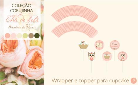 Wrapper e Topper Cupcake Chá de BebêCorujinha | Arquiteta de Fofuras