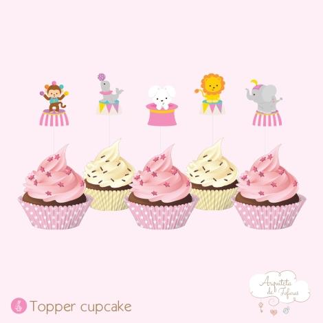 Topper cupcake Circo Menina_Arquiteta de Fofuras